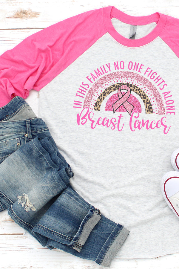 No One Fights Alone Breast Cancer Tri-Blend Unisex 3/4 Raglan