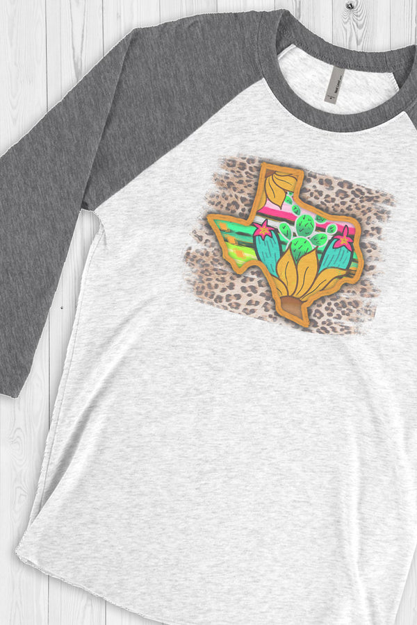 Painted Texas Leopard Tri-Blend Unisex 3/4 Raglan