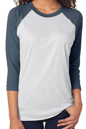 Tri-Blend Unisex 3/4 Raglan, Indigo/Heather White *Personalize It!