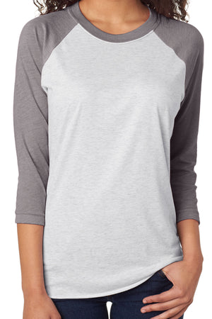 Tri-Blend Unisex 3/4 Raglan, Premium Heather/Heather White *Personalize It!