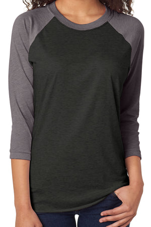 Tri-Blend Unisex 3/4 Raglan, Premium Heather/Vintage Black *Personalize It!
