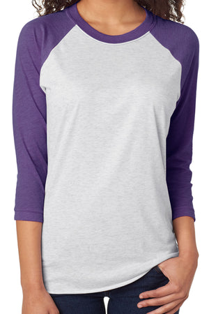 Tri-Blend Unisex 3/4 Raglan, Purple Rush/Heather White *Personalize It!