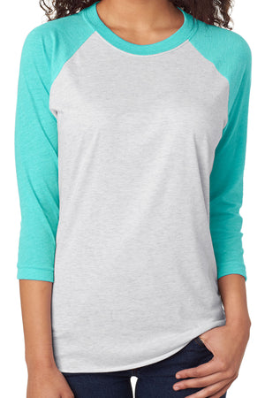 Tri-Blend Unisex 3/4 Raglan, Tahiti/Heather White *Personalize It!