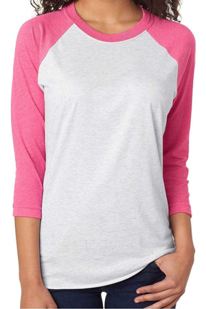 Pink Ribbon Faith Over Fear Tri-Blend Unisex 3/4 Raglan