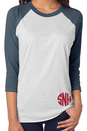 Tri-Blend Unisex 3/4 Raglan, Indigo/Heather White #NL6051 *Personalize It!