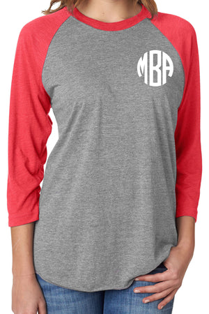 Tri-Blend Unisex 3/4 Raglan, Vintage Red/Premium Heather #NL6051 *Personalize It!