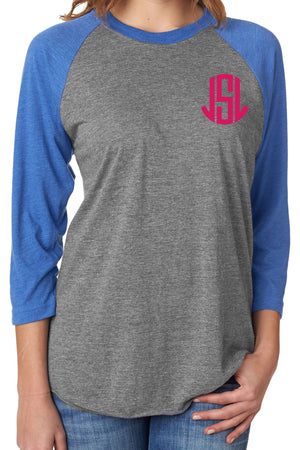 Tri-Blend Unisex 3/4 Raglan, Vintage Royal/Premium Heather #NL6051 *Personalize It!