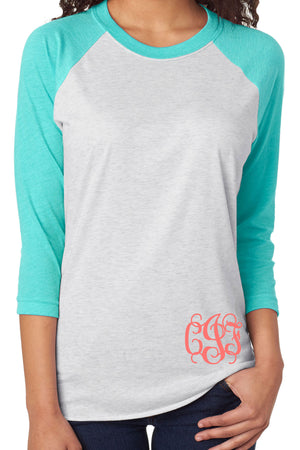 Tri-Blend Unisex 3/4 Raglan, Tahiti/Heather White #NL6051 *Personalize It!
