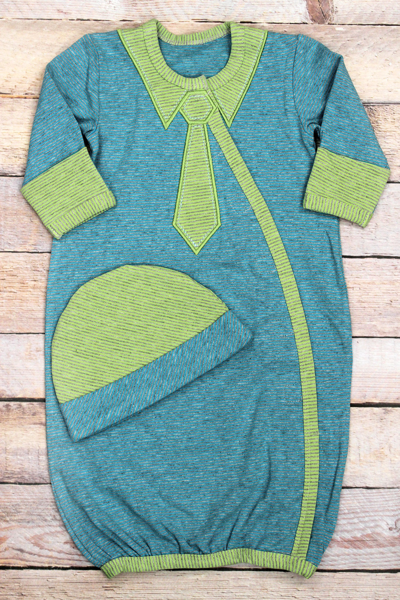 Blue and Green Stripey Cap and Gown Set, Newborn | eWAM