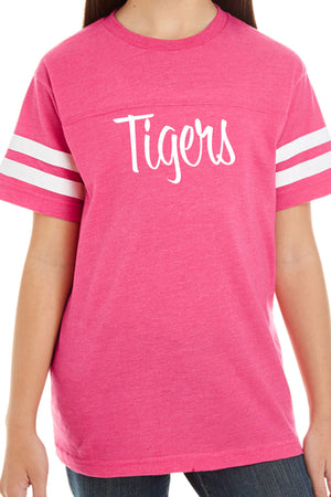L.A.T. Youth Fine Jersey Varsity Tee, Vintage Pink #6137 *Personalize It