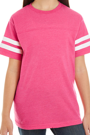 L.A.T. Youth Fine Jersey Varsity Tee, Vintage Pink *Personalize It