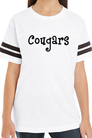 L.A.T. Youth Fine Jersey Varsity Tee, White/Black #6137 *Personalize It