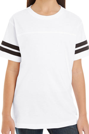 L.A.T. Youth Fine Jersey Varsity Tee, White/Black *Personalize It