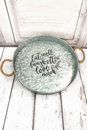 Eat Well Galvanized Metal Large Round Serving Tray #61560
