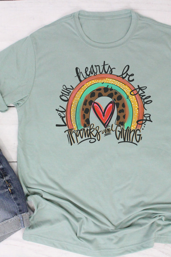Thanks And Giving Rainbow Poly/Cotton Tee