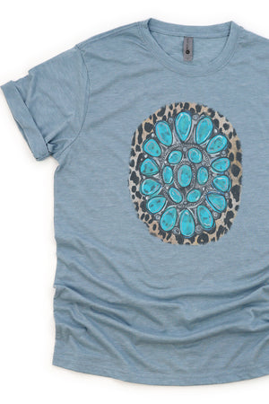Turquoise Leopard Stone Poly/Cotton Tee
