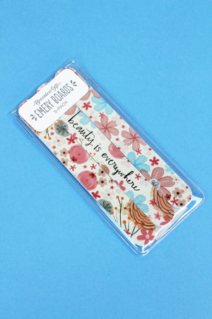 Set of 3 'Beauty Is Everywhere' Floral Emery Boards