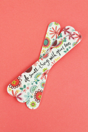 Set of 3 'Do Small Things With Great Love' Floral Emery Boards