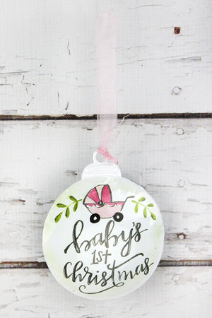 5 x 4.25 Girl Baby's 1st Christmas Ornament
