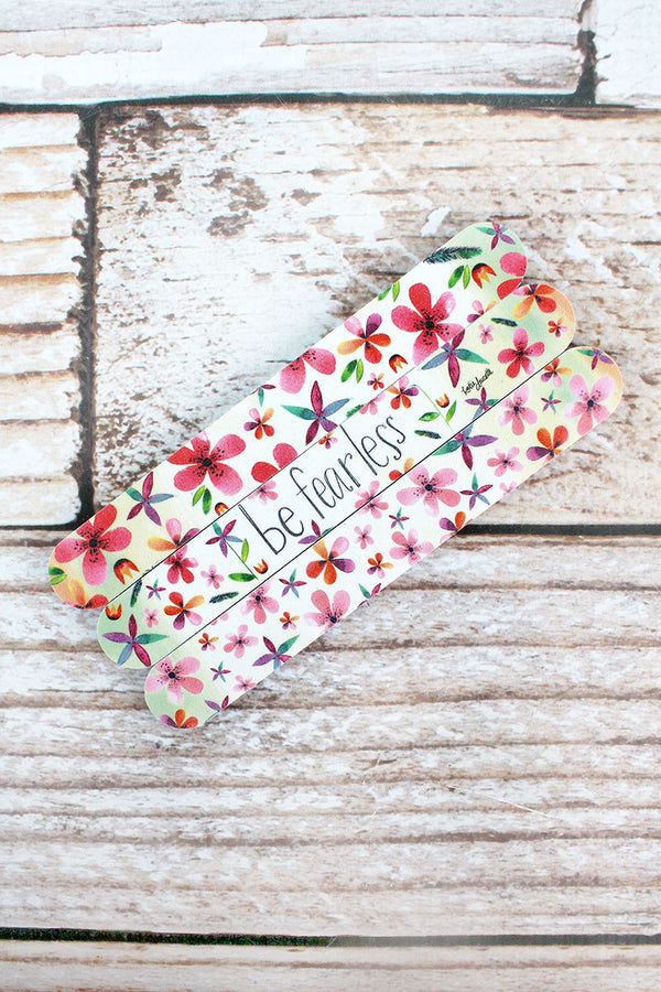 Set of 3 'Be Fearless' Floral Emery Boards