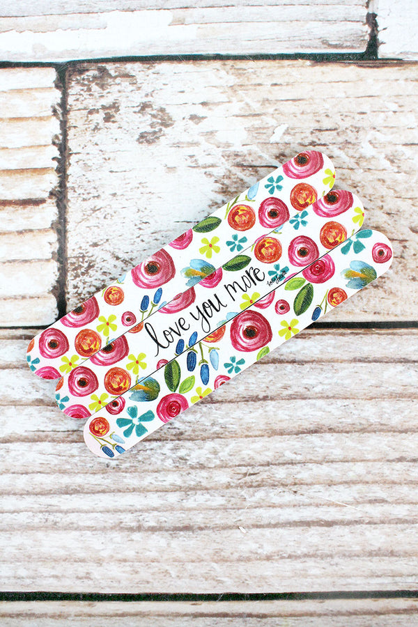 Set of 3 'Love You More' Floral Emery Boards