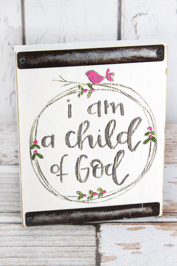 7 x 5.5 Child Of God White with Pink Baby Block