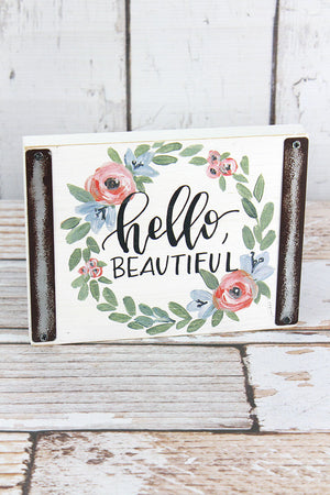 5.5 x 7 Hello Beautiful Wood Block Sign