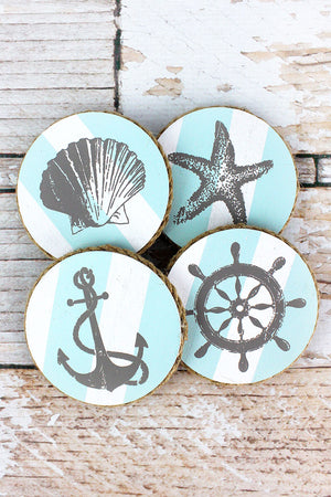 Set of Four Nautical Round Coasters, 3.75""