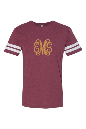 L.A.T. Adult Football Tee, Burgundy/White #6937 *Personalize It