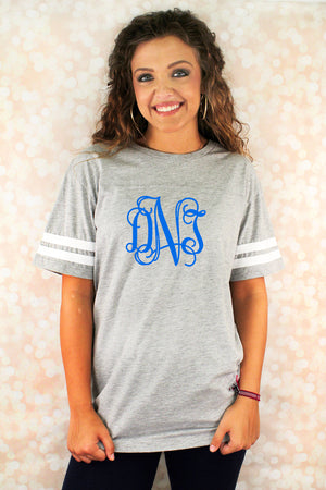 L.A.T. Adult Football Tee, Heather/White #6937 *Personalize It