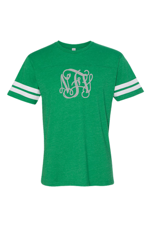 L.A.T. Adult Football Tee, Green/White #6937 *Personalize It