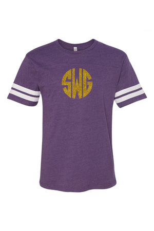 L.A.T. Adult Varsity Tee, Purple/White #6937 *Personalize It