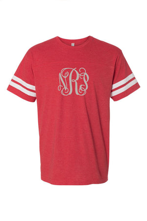 L.A.T. Adult Varsity Tee, Red/White #6937 *Personalize It