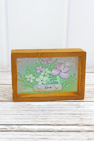4 x 6 'Love' Spring Flowers Framed Metal Tabletop Sign