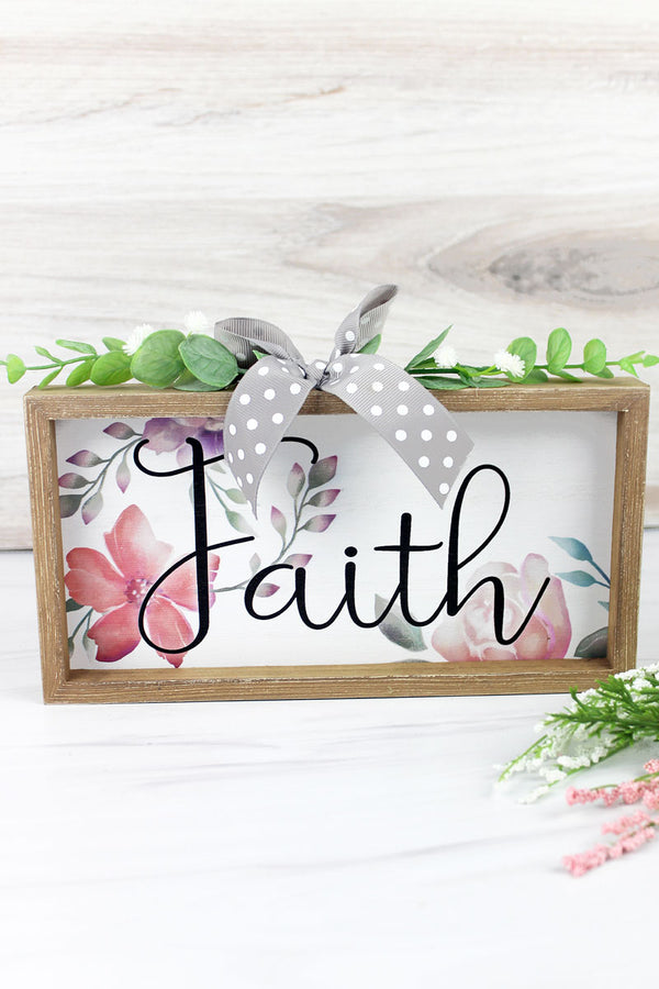 5 x 9.5 'Faith' Floral Wood Framed Sign