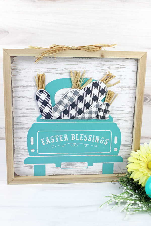 12 x 12 'Easter Blessings' Harvest Truck Wood Framed Wall Sign