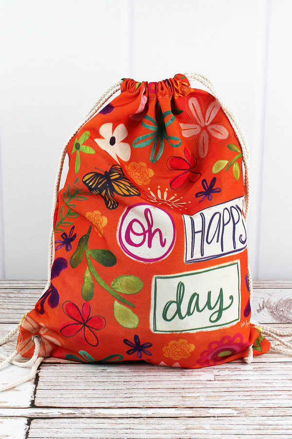 Oh Happy Day Drawstring Backpack