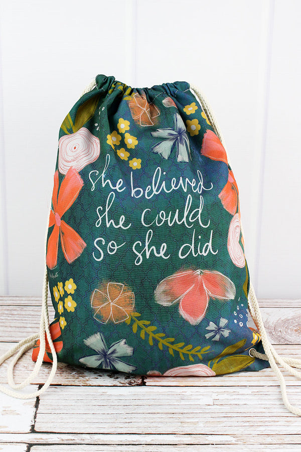 She Believed She Could So She Did Drawstring Backpack