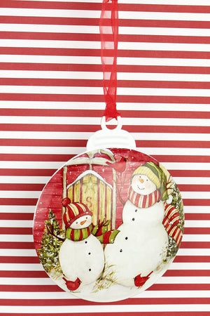5 x 4.25 Sledding Snowmen Ornament