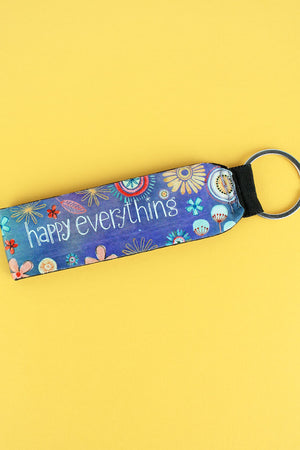 Happy Everything Floral Wristlet Keychain