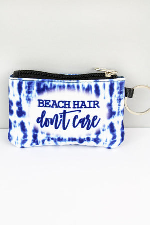 Beach Hair Don't Care ID Wallet Keychain