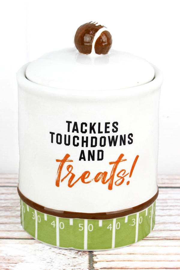 Ceramic 'Tackles Touchdowns And Treats!' Jar, 7.25""