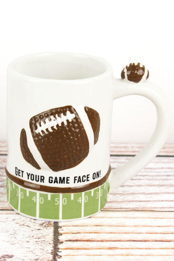 Ceramic 'Get Your Game Face On!' Football Mug