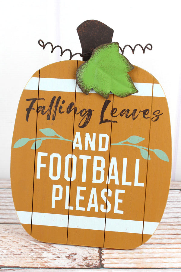 12 x 8.5 'Falling Leaves' Football Pumpkin Tabletop Sign