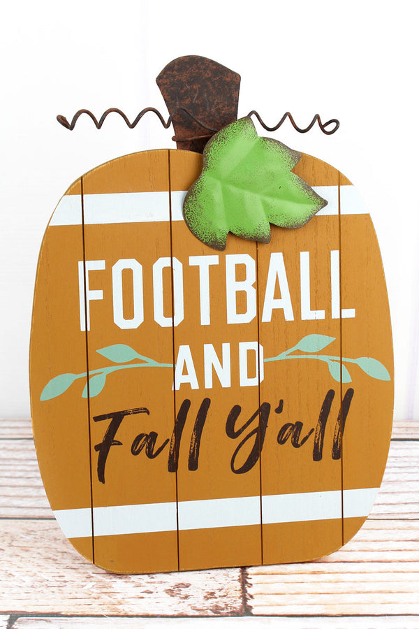 12 x 8.5 'Fall Y'all' Football Pumpkin Tabletop Sign