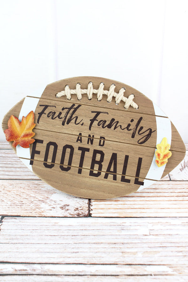 7.5 x 11.75 'Faith, Family And Football' Wood Tabletop Football