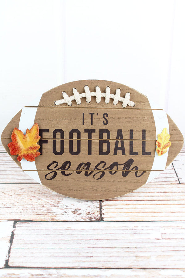 7.5 x 11.75 'It's Football Season' Wood Tabletop Football