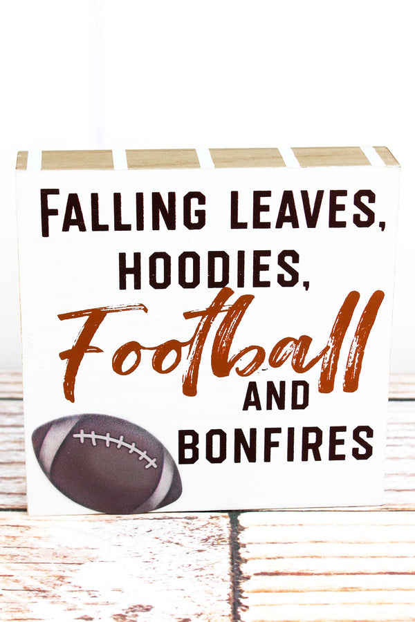 6 x 6 'Football And Bonfires' Wood Block Sign