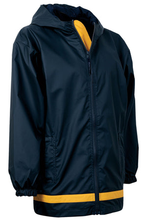 Charles River Youth New Englander True Navy and Yellow Rain Jacket *Customizable!