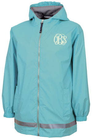 Charles River Youth New Englander Aqua Rain Jacket *Customizable!